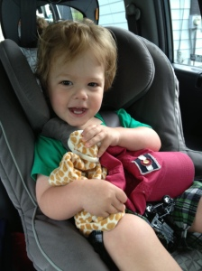 h was all smiles as we left this morning. i'm sure having his favorite things in hand didn't hurt. ;)