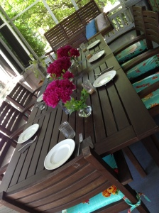 greeted by this beautiful summer table on the porch at today's lunch gathering.