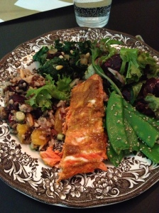 copper river salmon, blanched snow peas, candied beet salad, kale saute, and wild rice salad. seconds, anyone?