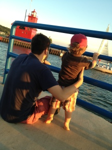 boat watching with daddy.